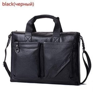 Black Leather Laptop Bags BREJOUY