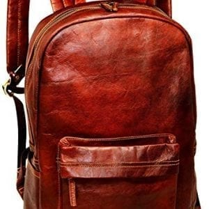 Jaald Brown Leather Laptop School Lightweight Travel Backpacks