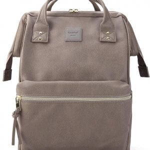Grey Leather Travel Backpacks Kah&Kee