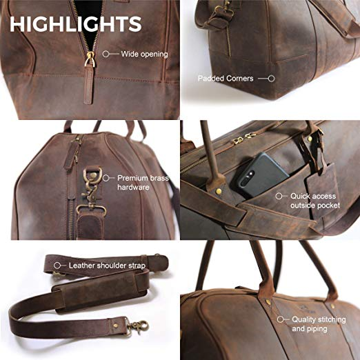 Features Bucksaw Brown Overnight Weekender Leather Duffel Travel Bags