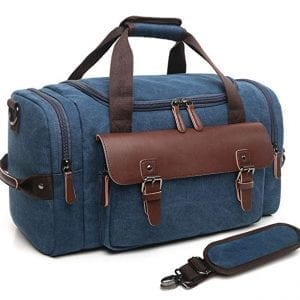 CrossLandy Blue Canvas Leather Duffel Travel Overnight Bags